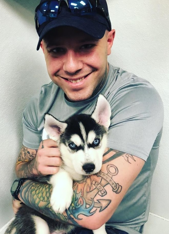 john flowers and puppy